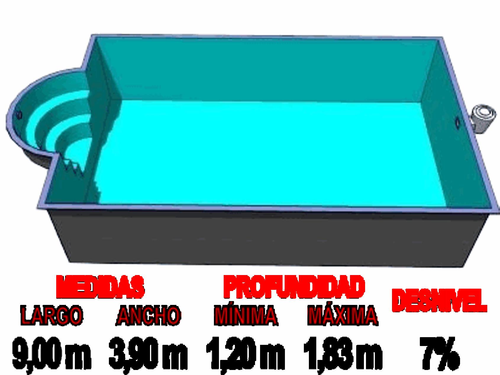 Barpool piscinas prefabricadas de poliester reforzadas for Medidas de piscinas