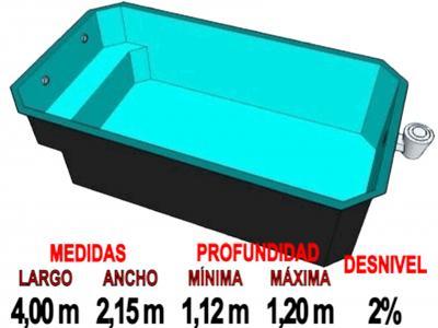Piscinas prefabricada rectangular de fibra piscinas for Medidas de una piscina para una casa
